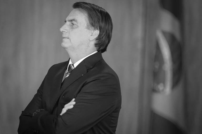 O presidente Jair Bolsonaro durante cerimônia no Palácio do Planalto, em Brasília