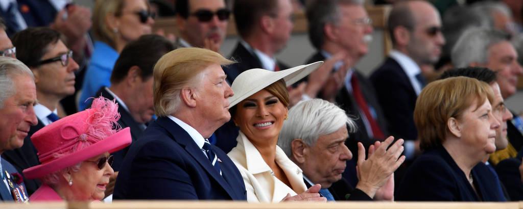A rainha Elizabeth 2ª, à esq., ao lado do presidente dos EUA, Donald Trump, a prima-dama dos EUA, Melania Trump, o presidente da Gécia, Prokopis Pavlopoulos, e a chanceler alemã, Angela Merkel