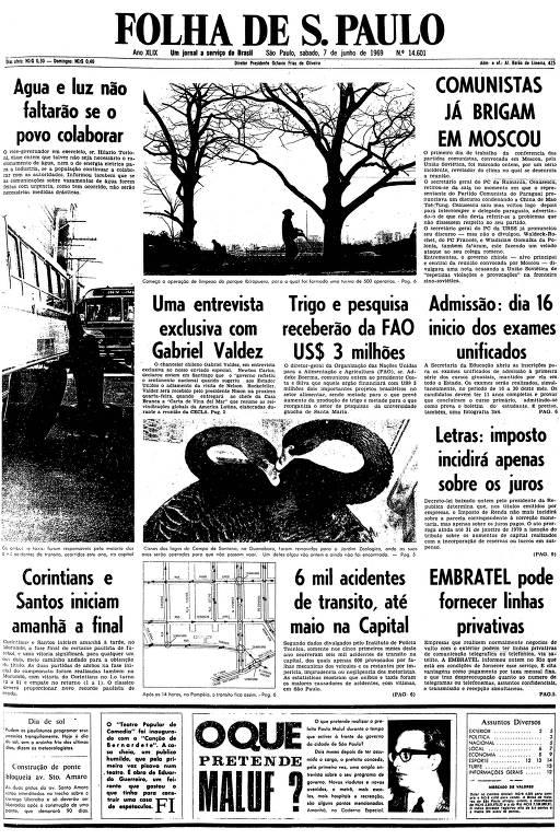 Primeira página da Folha de S.Paulo de 7 de junho de 1969