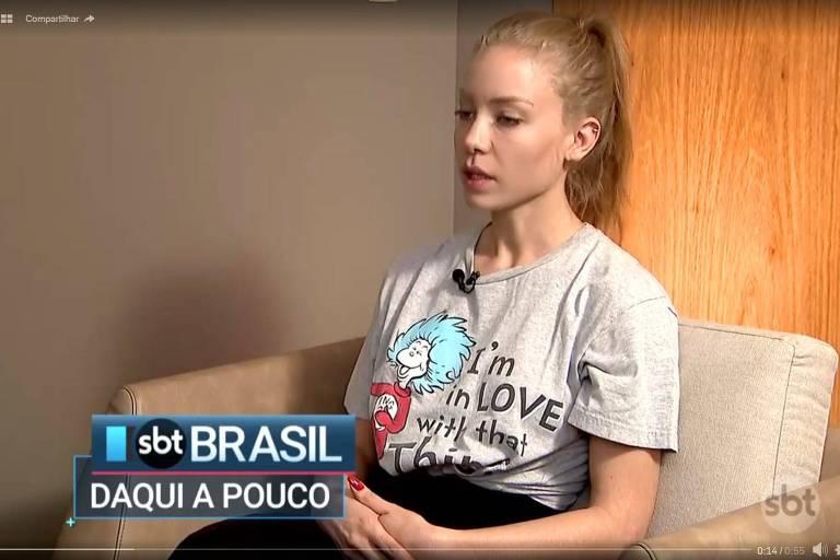 A modelo Najila Trindade Mendes de Souza, que acusa Neymar de estupro, deu entrevista exclusiva ao SBT