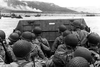 U.S. Army troops in an LCVP landing craft approach