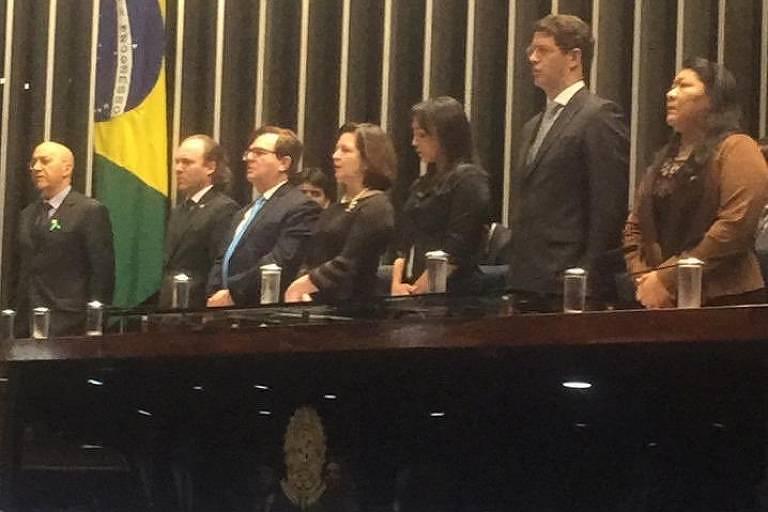 Ricardo Salles, ministro do Meio Ambiente, durante Sessão Solene do Dia do Meio Ambiente no Senado Federal