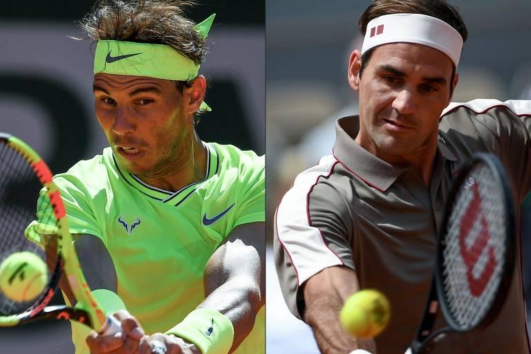 Montagem com Rafael Nadal e Roger Federer em ação durante a edição 2019 de Roland Garros