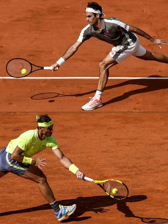 Montagem com Federer e Nadal em ação no Grand Slam de Paris