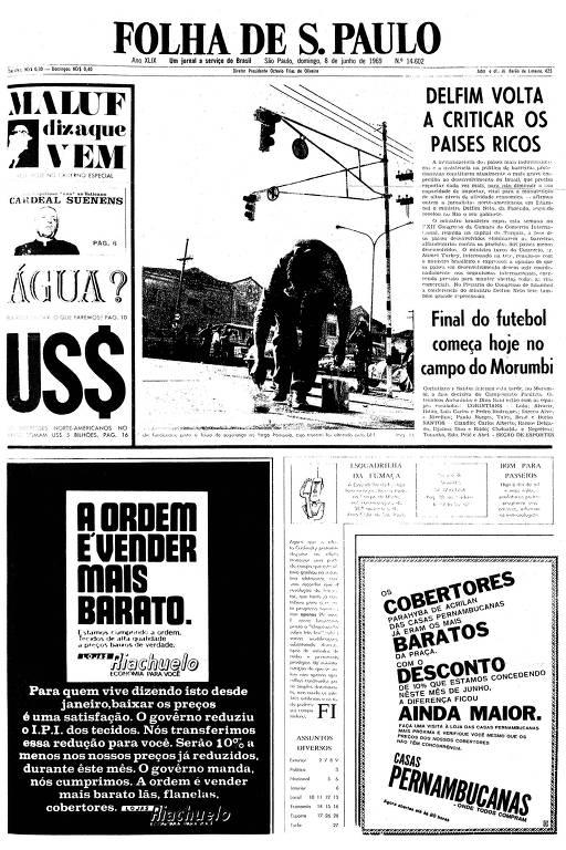 Primeira página da Folha de S.Paulo de 8 de junho de 1969