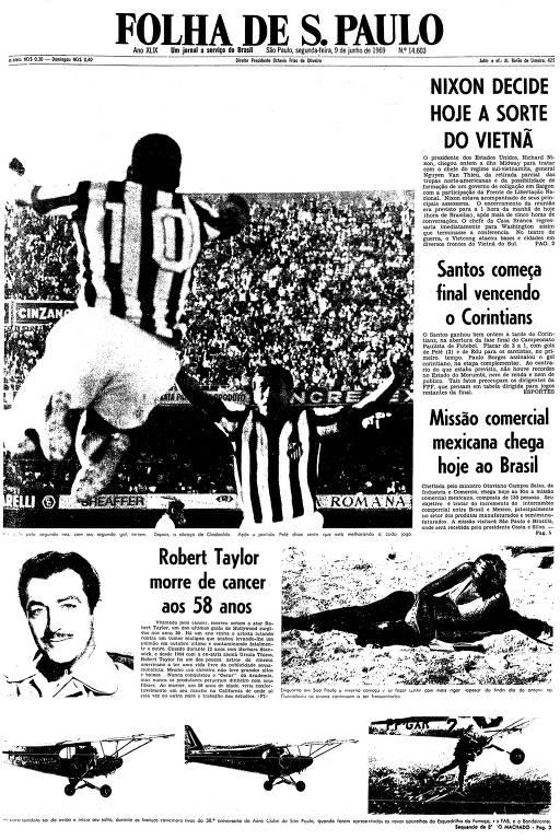 Primeira página da Folha de S.Paulo de 9 de junho de 1969