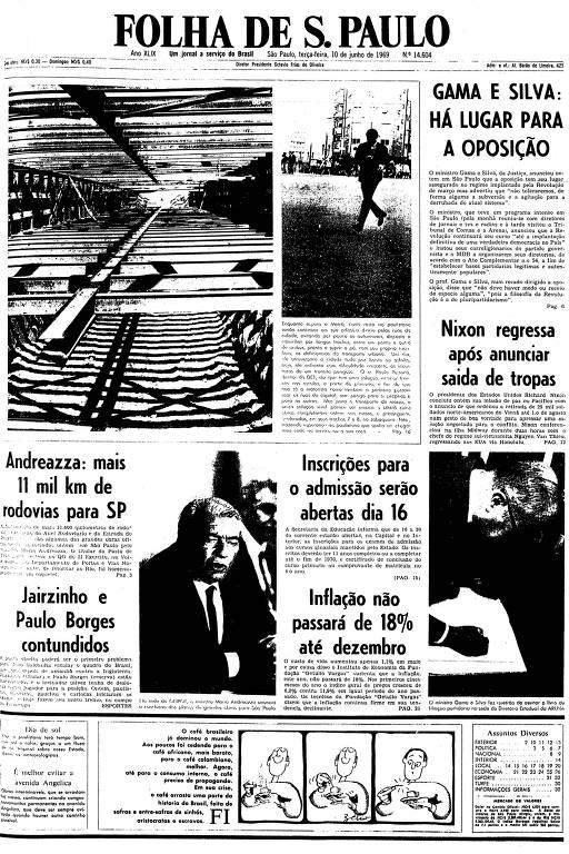 Primeira página da Folha de S.Paulo de 10 de junho de 1969
