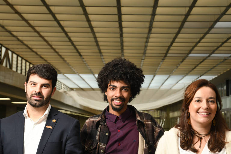 Sergio Victor (Novo), Samuel Emílio (sem partido) e Duda Alcântara (Rede), selecionados pela Raps para a turma de 2019