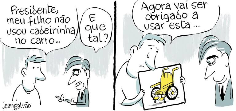 Charge publicada na página A2 do jornal Folha de S.Paulo em 9 de junho de 2019 (Jean Galvão/Folhapress)