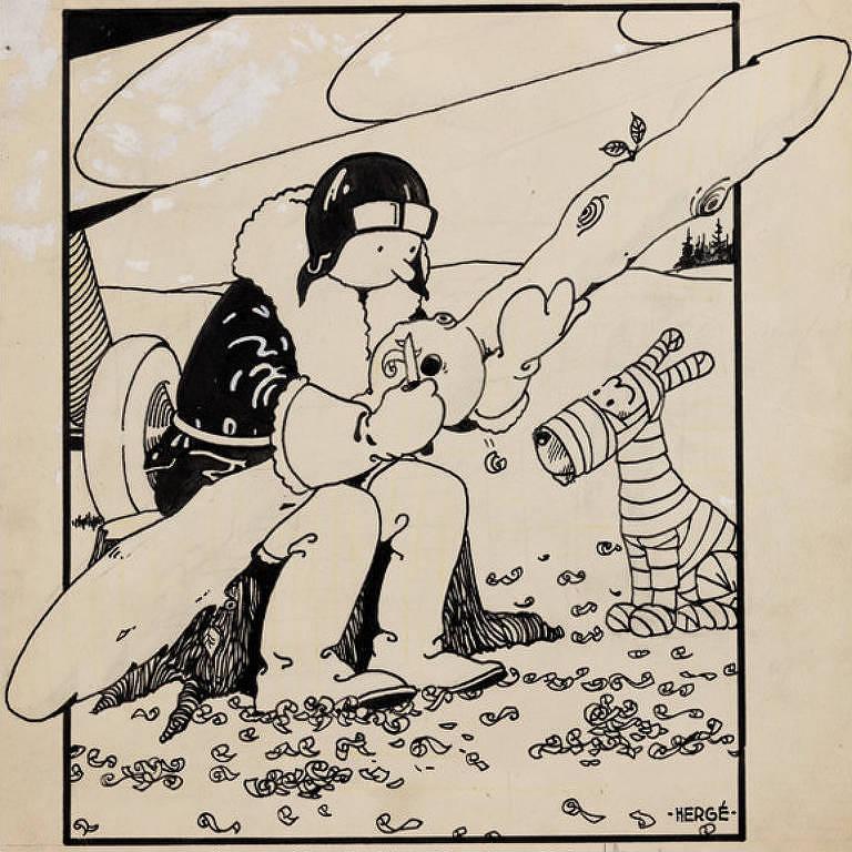 Desenho da primeira capa de Tintim, leiloado por USD 1,1 milhão