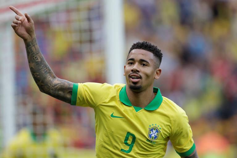 Gabriel Jesus comemora um de seus gols na vitória sobre Honduras, no Beira-Rio