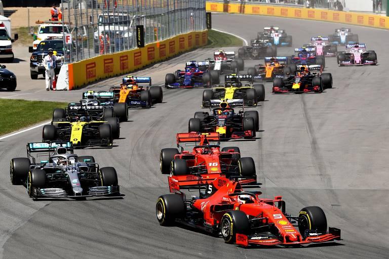 O alemão Sebastian Vettel (Ferrari) larga na frente no Grande Prêmio do Canadá, neste domingo (9); Lewis Hamilton (Mercedes) é o segundo
