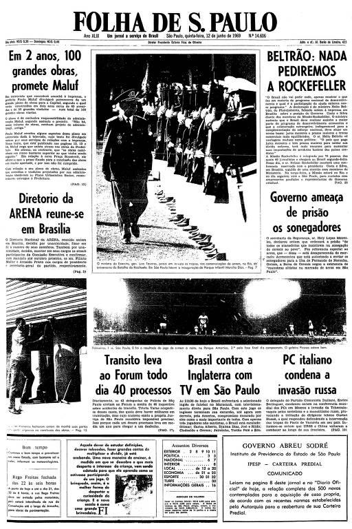 Primeira página da Folha de S.Paulo de 12 de junho de 1969