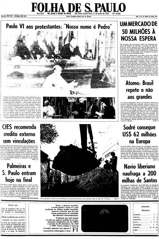 Primeira página da Folha de S.Paulo de 11 de junho de 1969