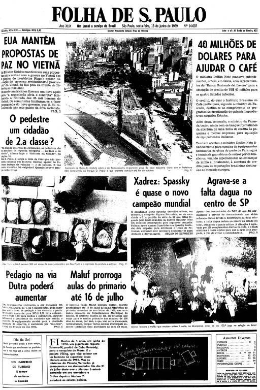 Primeira página da Folha de S.Paulo de 13 de junho de 1969