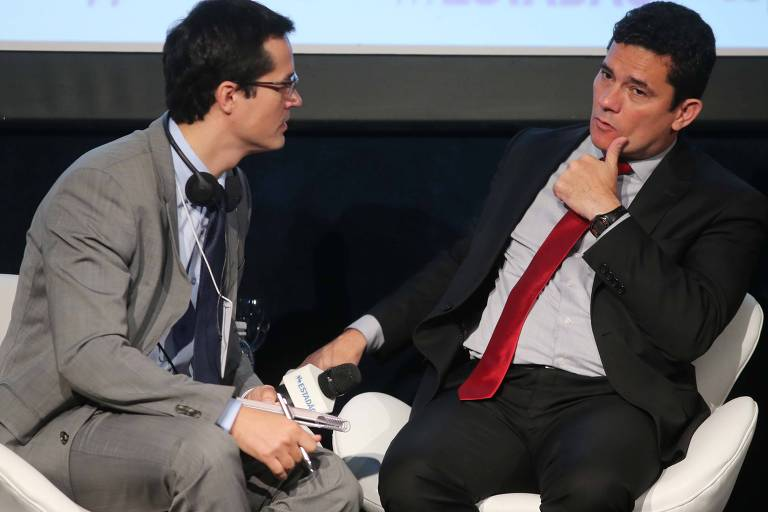 Deltan Dallagnol e Sergio Moro, durante evento em 2017