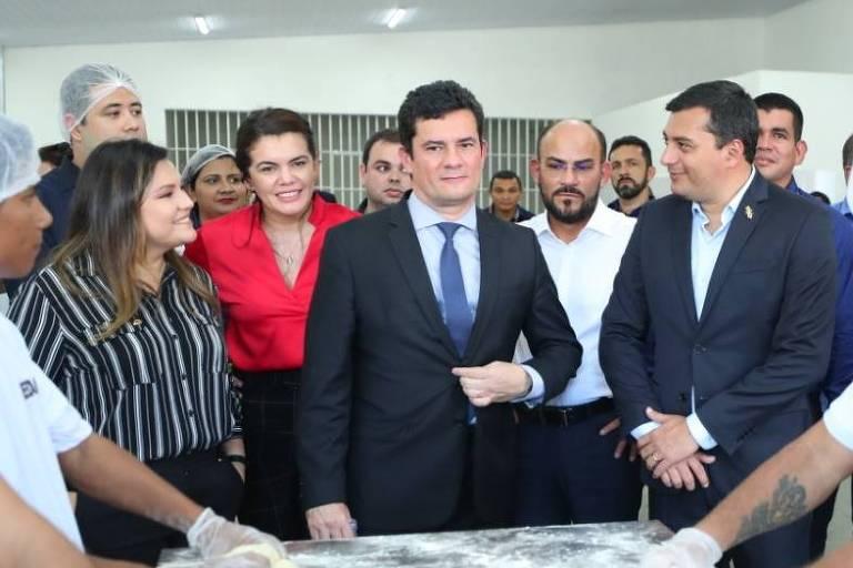 O ministro da Justiça, Sergio Moro, visita, nesta segunda-feira (10), o Compaj (Complexo Penitenciário Anísio Jobim), em Manaus, palco de massacre em maio e em 2017