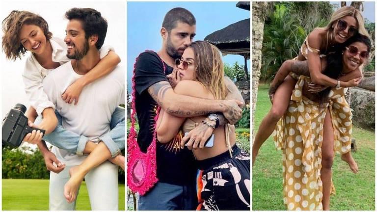 Famosos que comemoram primeiro Dia dos Namorados: Rodrigo Simas e Agatha Moreira; Anitta e o surfista Pedro Scooby; Ludmilla e Brunna Gonçalves
