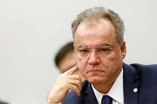 Brazilian Federal Deputy Samuel Moreira looks on during a session of the commission of the pension reform bill at the National Congress in Brasilia