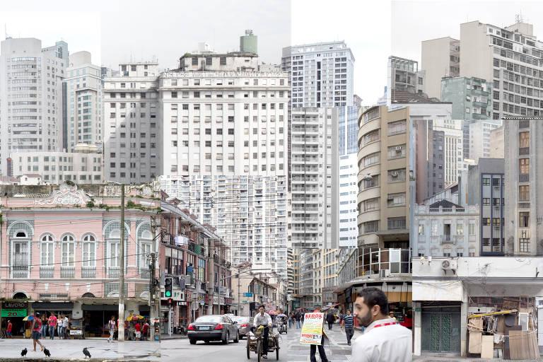 """Prédios e ruas do centro de São Paulo e de Belém (PA) se misturam aos de Xangai, na China, nesta colagem da série """"Random City"""", de Letícia Lampert"""