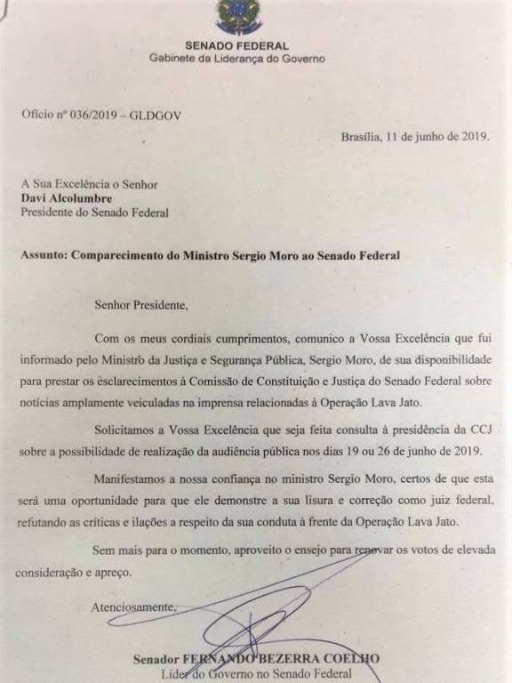 Carta oficializando a presença de Sergio Moro no Senado
