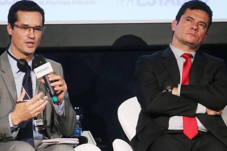 O procurador Deltan Dallagnol e o então juiz federal Sergio Moro, em debate sobre a Lava Jato