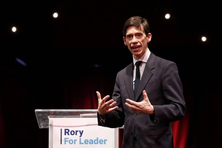 O secretário Rory Stewart em evento que marcou início de sua campanha à liderança dos Conservadores, em Londres