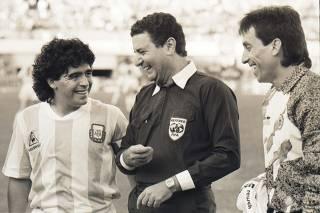 Arnaldo César Coelho, Maradona e Rojas- Seleção Argentina - Copa América de 1989
