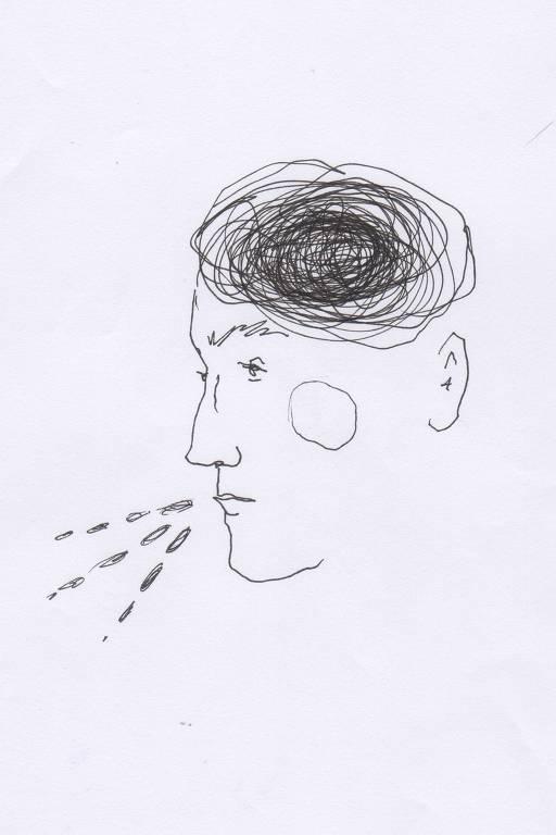Ilustração em branco e preto do rosto de uma pessoa falando e ativando partes do cérebro
