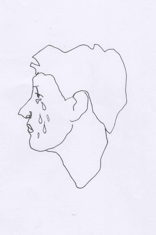 Ilustração em preto e branco do rosto de perfil de um adolescente chorando
