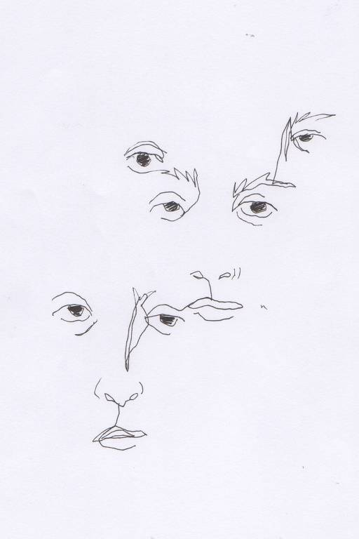 Desenho em preto e branco de caneta em papel que mostra duas faces, ambas sem o contorno do rosto; na face superior há quatro olhos; a face de baixo começa a partir da linha rizes e bocas sem o contorno do rosto