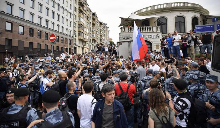 Protesto em Moscou em apoio ao jornalista  Ivan Golunov