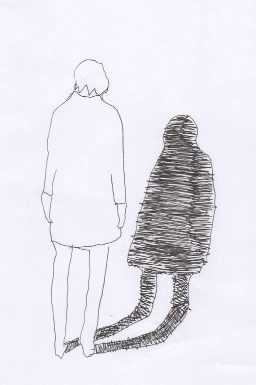 Desenho mostra uma pessoa de cabelo curto de costas, vestindo uma camiseta até os joelhos e de cabeça baixa, olhando para a própria sombra