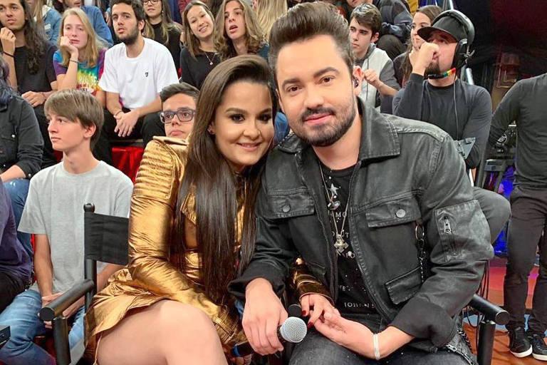 Maiara e Fernando Zor durante participação no Altas Hora (Globo)