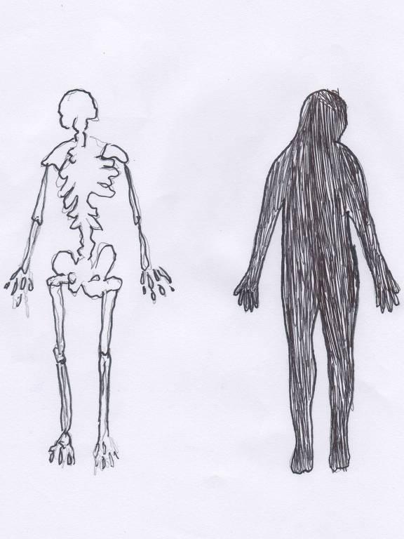 Desenho retrata um esqueleto humano ao lado de um corpo preenchido pintado de preto