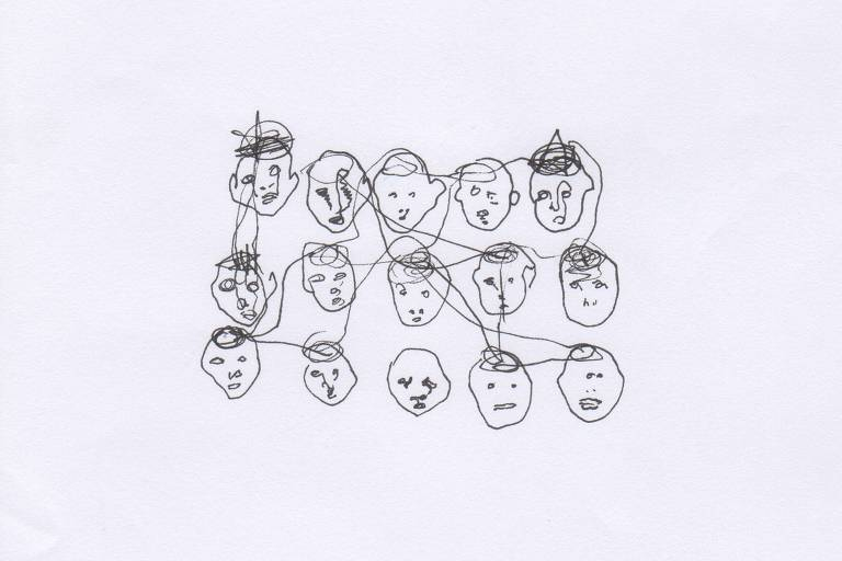Desenho com traços pretos tortuosos de vários rostos deformados, distribuídos em três fileiras com cinco rostos cada. Olhos, bocas e narizes têm formatos variados. Riscos pretos ligam e passam por cima de parte dos rostos