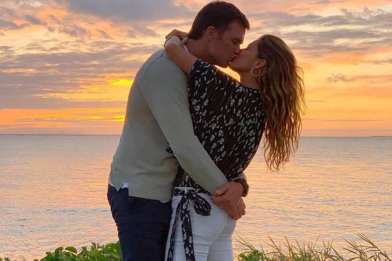 Gisele Bündchen e Tom Brady no dia dos namorados