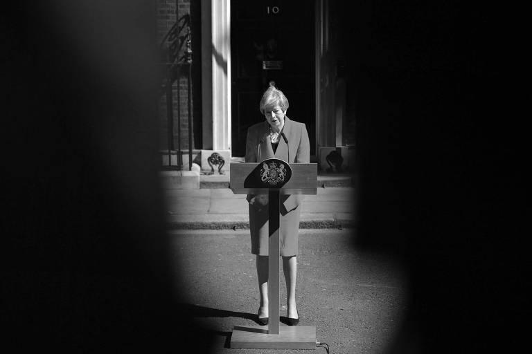 A primeira-ministra britânica, Theresa May, durante discurso em que anunciou a sua renúncia ao cargo, em Londres, em maio deste ano