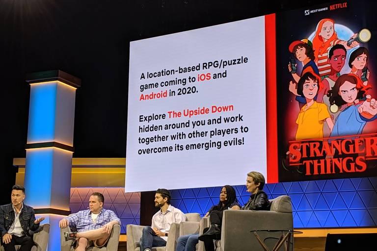 Da esq. para a dir.: Chris Lee, diretor de games da Netflix, com Paul Dichter, escritor da série, e Henson Company, diretor digital da empresa