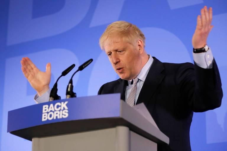 Boris Johnson, favorito para se tornar o novo premiê britânuico, em evento de lançamento de campanha, em Londres