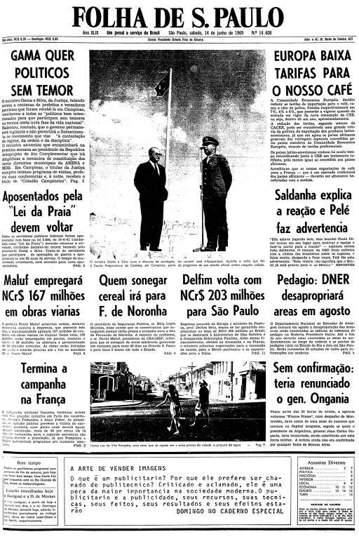 Primeira página da Folha de S.Paulo de 14 de junho de 1969