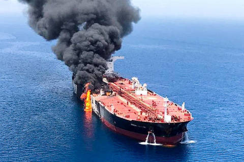 An oil tanker is seen after it was attacked at the Gulf of Oman, in waters between Gulf Arab states and Iran, June 13, 2019. ISNA/Handout via REUTERS ATTENTION EDITORS - THIS IMAGE WAS PROVIDED BY A THIRD PARTY. NO RESALES. NO ARCHIVES ORG XMIT: AJS01R
