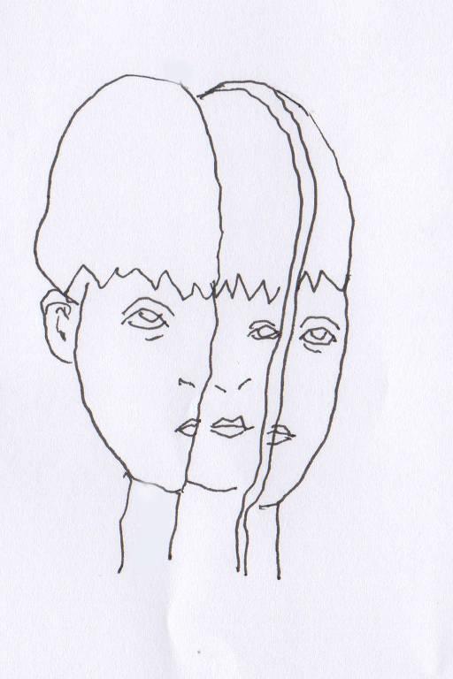 Ilustração de traço fino, preta e branca, do rosto de criança repartido em diversas outras faces