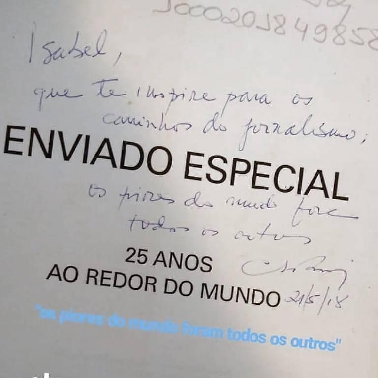 Dedicatória de Clóvis Rossi em livro da leitora Isabel Seta