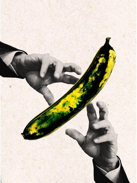mãos ao redor de banana