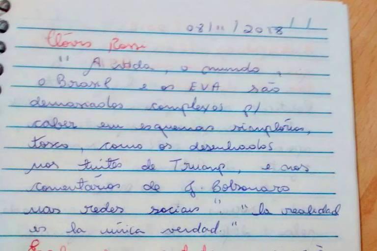 Texto anotado à mão por leitora de Clóvis Rossi