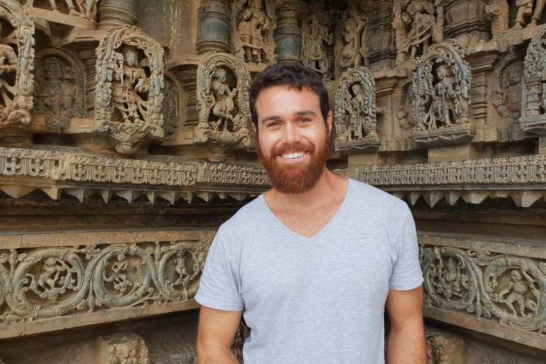 O empresário Ian Borges, 32, em viagem à Índia