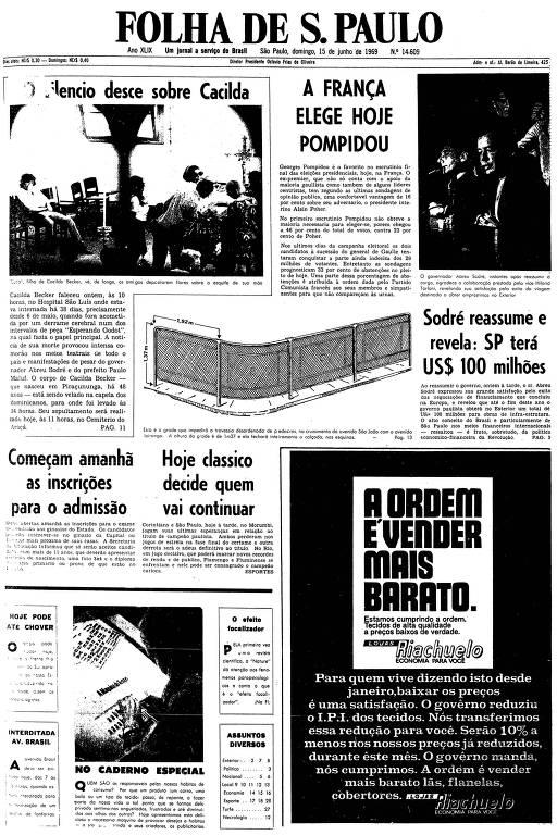 Primeira página da Folha de S.Paulo de 15 de junho de 1969