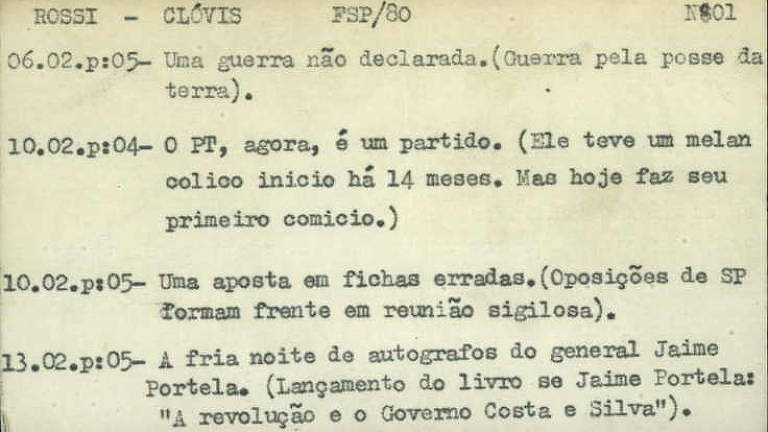 Ficha com títulos de reportagens publicadas por Clóvis Rossi na Folha em 1980