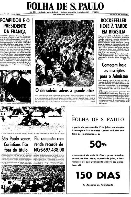 Primeira página da Folha de S.Paulo de 16 de junho de 1969